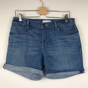 Ann Taylor Loft Light Wash Jean Shorts Rolled Hem